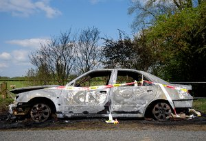 Oops: A burned out wreck of a car in unlikely English rural Rutlandshire...