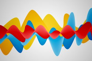 Abstract Waves 1: Colorful waves on a gray background or a background in the checkerboard