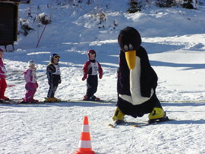 Ski Training Professional: .. could you find a more professional ski trainer than a penguin ?Although this photo has been taken totally private as a skiing guest. I would like to point out, that Bobo, the skiing penguin, is a registred trade mark, at least here in Europe and belong