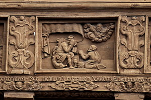 Baroque relief in wood: Baroque decoration of hause in Wernigerode, Germany