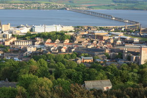 Tay Bridge: View of Tay Bridge from the Law Hill, Dundee