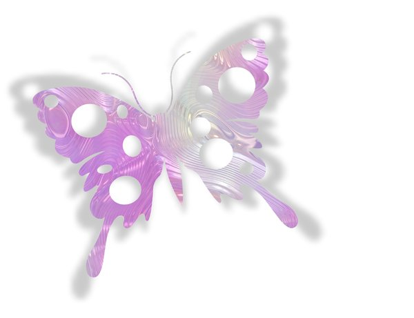 Cutout Foil Butterfly: A shiny metallic butterfly shape in pink and silver foil. Great decoration for many things.