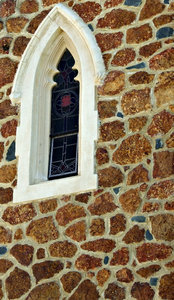 window in stone: window in stone church wall