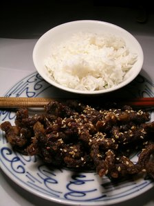 Fried pork and rice: Fried pork and steamed rice
