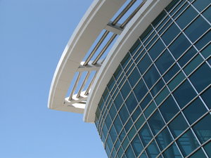 mirror project side: modern building closeup