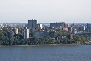 The Bronx: The Hudson River and East River meet at the tip of Manhattan with Henry Hudson Bridge crossing. Contact me for higher resolution available.