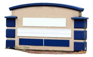 4 panel monument, blue trim: free-standing sign used to convey advertising and information.