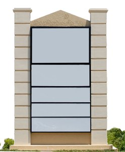2 column, 5 panel sign: free-standing sign used to convey advertising and information.