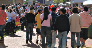 follow the crowd: crowds of people at Spring fair