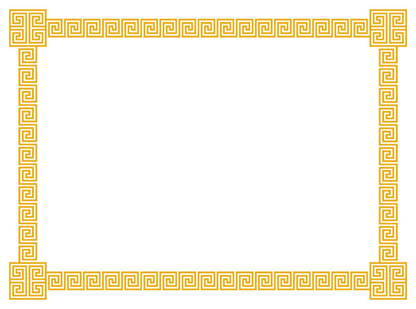Geometric Border 4: A border of classic geometric scrolls and embellished corner element in golden yellow.  Lots of copy space.