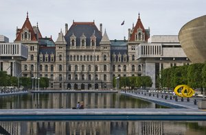 New York State Capital: The New York State Capital at Albany. The State Assembly Building is a fine example of Empire State Gothic architecture. Contact me for higher resolution versions of this photo.