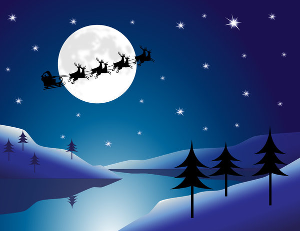 Santa Moon: Santa flying over an Arctic landscape with moonlit lake.