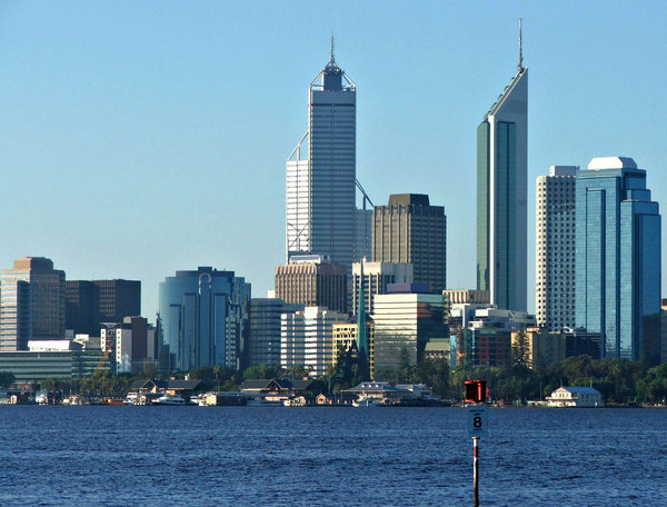 over on the other side: city of Perth central business district seen from across the other side of the Swan River