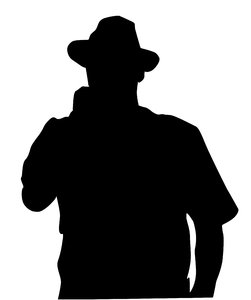 A man in the hat: A man in the hat with a microphone. A silhouette.