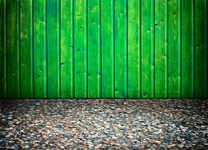 Green fence with shell floor: green fence and shell floor background