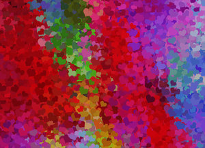 Lots of Hearts 3: Lots of Valentine hearts in a collage suitable for a texture, background, backdrop or fill, a birthday card or wrapping, anniversary, wedding, or valentine.