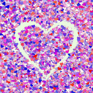 Lots of Hearts 16: Layered, pretty Valentine hearts in a collage suitable for a texture, background, backdrop or fill, a birthday card or wrapping, anniversary, wedding, or valentine.