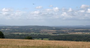 South Downs landscape: Summer landscape with glider of the South Downs, England.