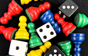 in the game: various coloured games pieces or components