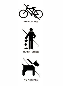 no, no, no - triple no: sign banning bicycles, littering and animals