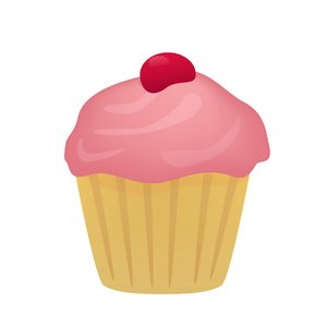 Strawberry Cupcake: Cupcake with strawberry frosting and cherry.