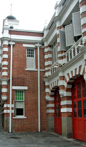 historic fire station: colonial architecture of historic fire station