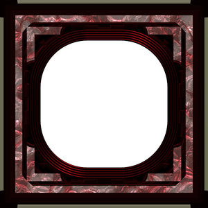 Ornate Square Frame 2: An elegant, ornate frame with inlaid panels, in shades of red and maroon, with a patterned inlay.