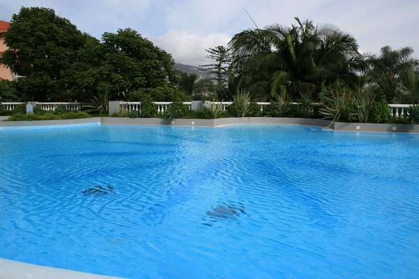 Swimming pool: An outdoor swimming pool in a resort in Madeira.