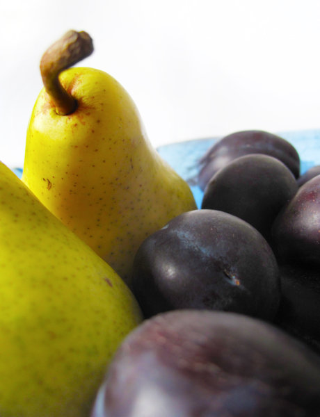 pears and plums 3: yellow and blue fruit close-up