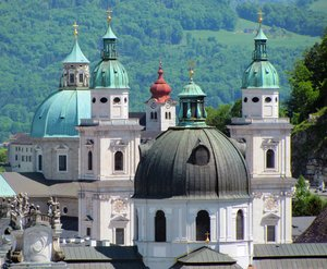 Salzburg towers: church towers in salzburgs historic town, austria