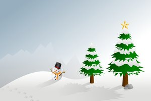 Christmas Landscape 2: Winter holiday landscape with snowman, mountains and trees