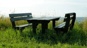 Bench set by the sea