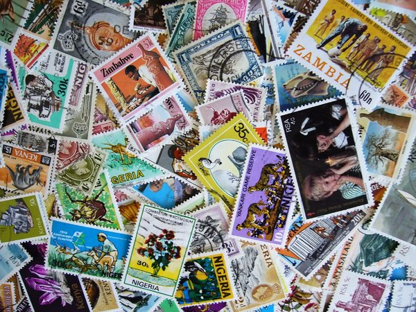 Postage Stamps: A collection of postage stamps from African countries.I took this picture when selling these items on eBay, but thought that it might actually be useful as a stock image too :)