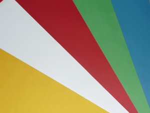 Colored Sheets: Paper sheets in five different colors