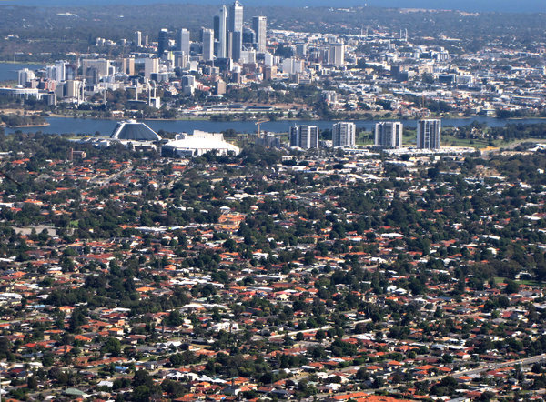 down in the city & suburbs: looking down on the Australian city of Perth, the Swan River and some suburbs