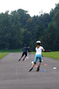 roller-skate: young people during roller skate training session