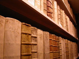 old libary: famous libary in wolfenbuettel, germany, with the most expensive book of the world (9 million euros)