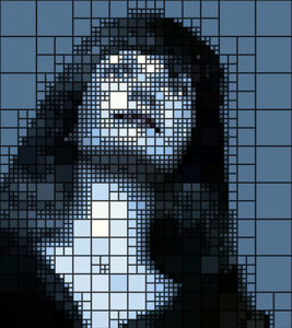 Woman's Face Mosaic Effect