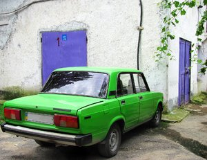 green and violet: green car, green leaves and violet doors