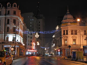 Christmas light: Bucharest December night in the stree
