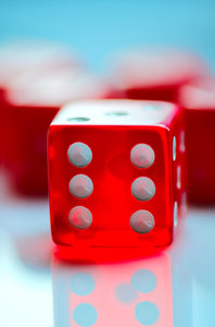 Red dice: Red transparent dice