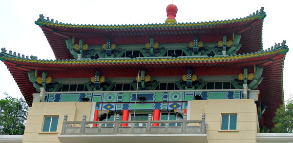 Chinese roof structures: traditional colourful Chinese heritage building