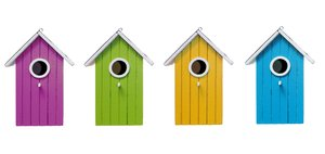 bird houses: fancy colored bird houses