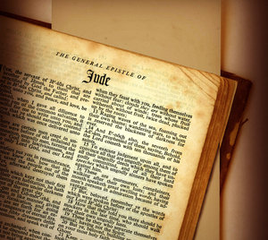 Jude: The book of Judefrom the Holy Bible.This image is not a photograph. It was created using a scanner and photo manipulation on a computer.