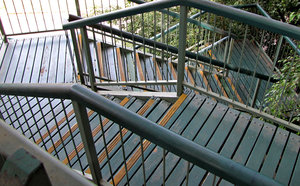 long way down: outside public metal and wood stairway