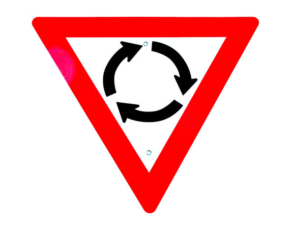 around in circles: roundabout give-way sign