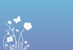 Simple flower background with : Abstract nature illustration with flowers and butterfly on pastel-colored blue background