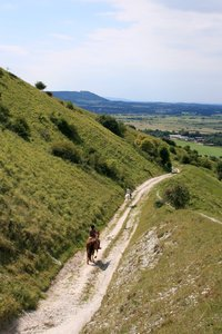 Horse riders: Horse riders on a chalk track on the South Downs, West Sussex, England.