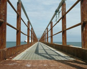 Bridge: Iron brige to a research wave power plant