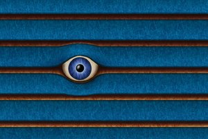 Im watching you!: Big watching eye in between wood planks illustration - RGBStock exclusive.